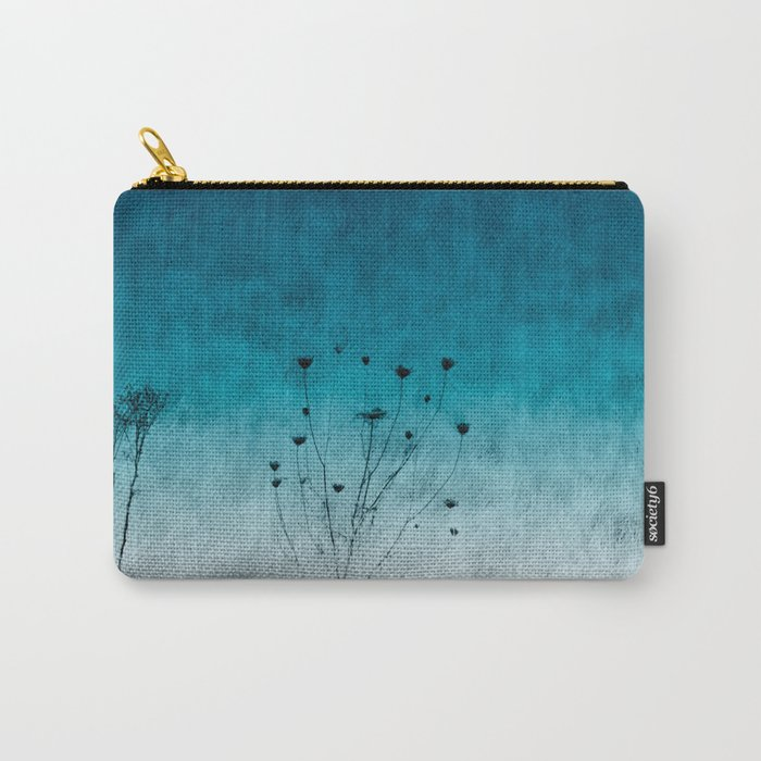 Blue Floral ~ silhouettes Carry-All Pouch