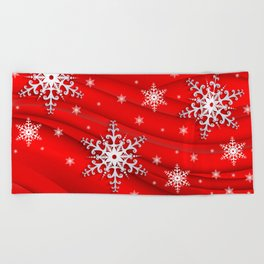 Abstract background with snowflakes Beach Towel