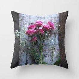 Rustic Pink Roses Throw Pillow