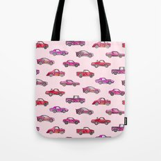 Little Toy Cars in Watercolor on Pink Tote Bag