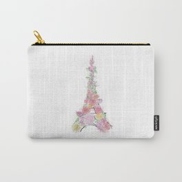 Floral Eiffel Tower Carry-All Pouch