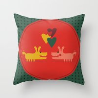 dogs Throw Pillows featuring dogs by ValoValo