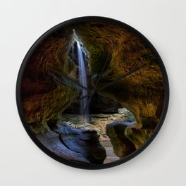 Rock House and Waterfall - Hocking Hills Wall Clock