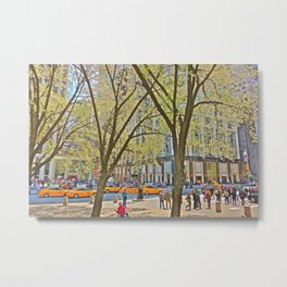 Taxis on 5th Avenue, NYC Metal Print