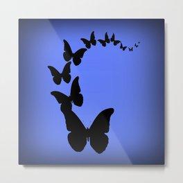 Migrating Black Butterflies Evening Blue Sky Metal Print
