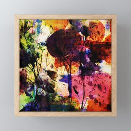 bold abstract with flowers Framed Mini Art Print