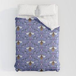 Folk Honey Bee Pattern on Cornflower Blue Comforters