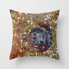 Mosaik orange with a dark blue circle Throw Pillow