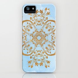 GOLD AND BLUE FLOURISH ORNAMENT MANDALA iPhone Case