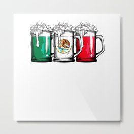 Beer Mexican Flag T shirt Cinco de Mayo Women Mexico Gifts T-Shirt Metal Print