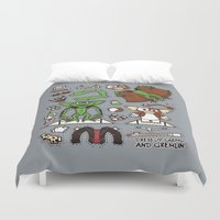 gizmo Duvet Covers featuring Dress up Gizmo and Gremlin by Hoborobo