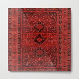 Red Traditional Oriental Moroccan & Ottoman Style Artwork. Metal Print