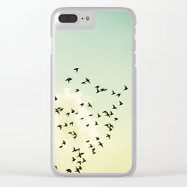 Birds Flying Photography, Birds Fly Sky, Mint Turquoise Yellow Nursery Art Clear iPhone Case