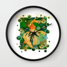 Happy Norooz Persian New Year Goldfish In Green Sea Wall Clock