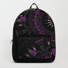 Buffalo Skull and Feathers (Purple) Backpack