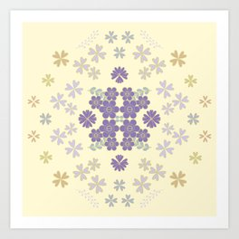 The pattern with the image of flowers gently pastel shades and botanical elements. Minimalistic desi Art Print