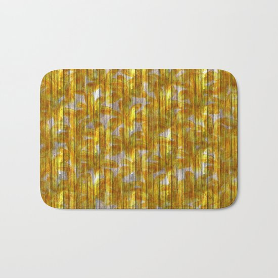 Paintely Wooden Orange and Yellow Flowers Bath Mat