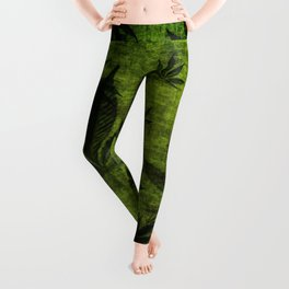 Grunge Pot Leaf design Leggings