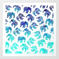 Boho turquoise blue ombre watercolor hand drawn mandala elephants pattern Art Print
