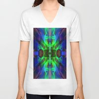 neon V-neck T-shirts featuring Neon by Assiyam