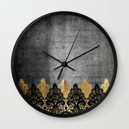 Pure elegance II - Luxury Gold and black lace on grunge dark background Wall Clock