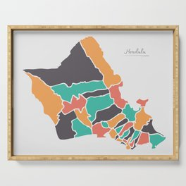 Honolulu Hawaii Map with neighborhoods and modern round shapes Serving Tray