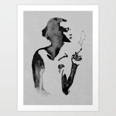 Smoker (Ink Painting) Art Print