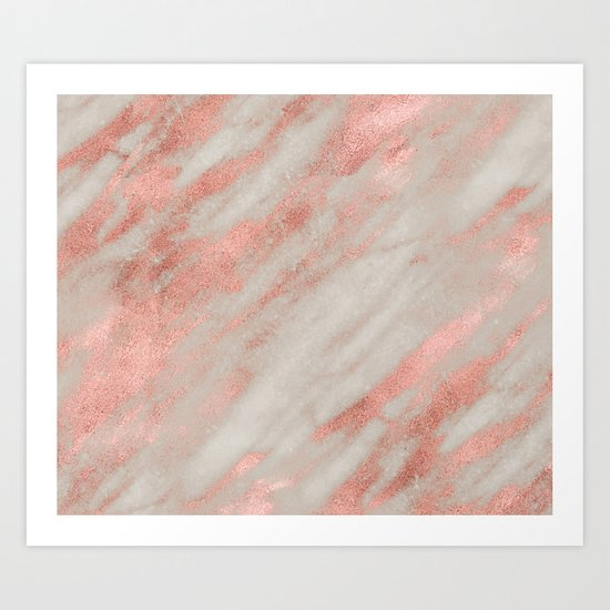 Smooth rose gold on gray marble Art Print
