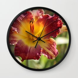 Eye of Lily Red & Gold Wall Clock