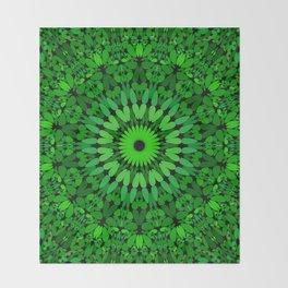 Deep Green Leaves Mandala Throw Blanket