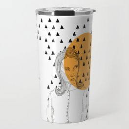 the skeptical lady orange Travel Mug