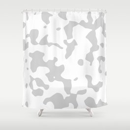 Large Spots - White and Light Gray Shower Curtain