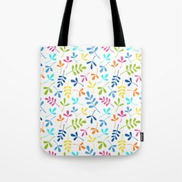 Multicolored Assorted Leaf Silhouette Pattern Tote Bag