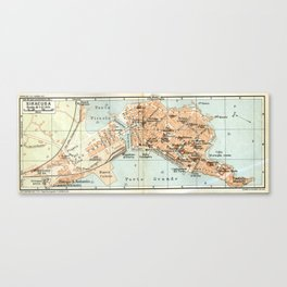 Vintage Map of Syracuse Italy (1905) Canvas Print