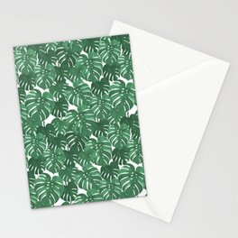 Monstera house plant leaf green painting pattern trendy hipster indoor house plant tropical garden   Stationery Cards