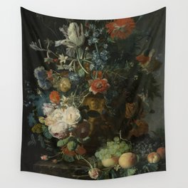 Jan van Huysum - Still life with flowers and fruits (1721) Wall Tapestry