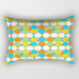 Octagons - Orange and Aqua Rectangular Pillow