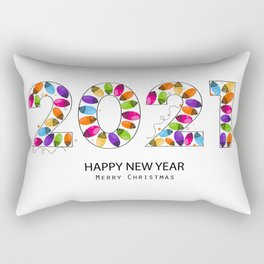 2021 white text with colorful Christmas light bulb vector. Happy new year and merry Christmas greeting card Rectangular Pillow
