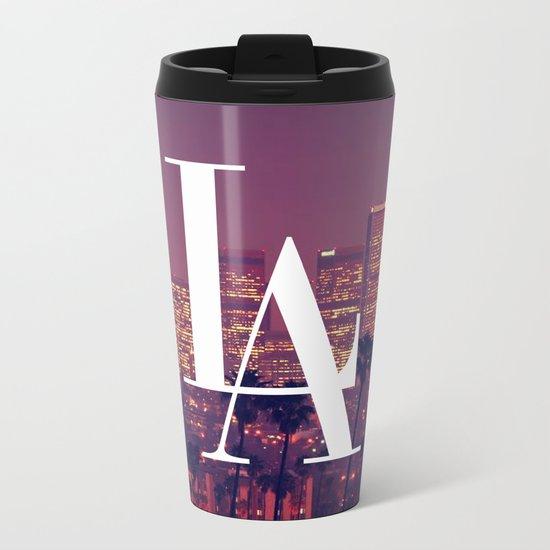 Downtown LA Vintage Skyline Typography Metal Travel Mug