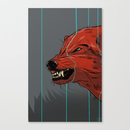Red wolf with blue lines Canvas Print