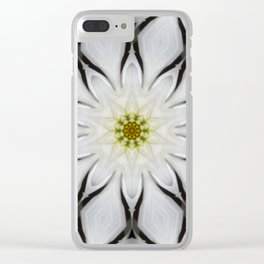 White Flower Design Clear iPhone Case