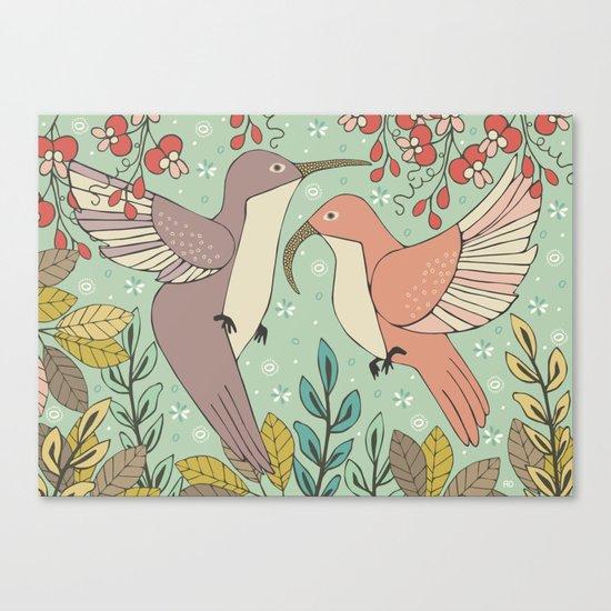 Dancing Hummingbirds Canvas Print