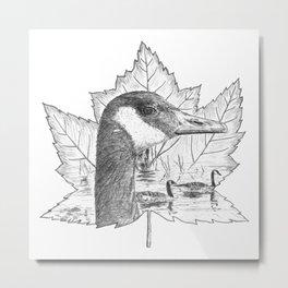 Canada Goose on Maple Leaf Metal Print
