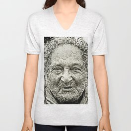 Portrait of a old man in the street Unisex V-Neck