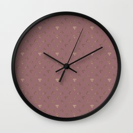 Gold Diamonds Pattern on Royal Purple Background Wall Clock