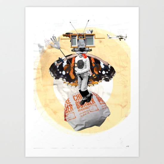 Satisfaction - WhiteVersion - DogKidCollage Art Print