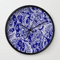 batik Wall Clocks featuring paisley batik by Ariadne