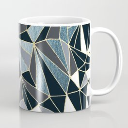 Stylish Art Deco Geometric Pattern - Black, blue, Gold #abstract #pattern Coffee Mug