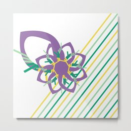 Spring Air Vector Flower and Stripe Graphic Print Metal Print