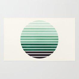 Deep Green Mid Century Modern Minimalist Scandinavian Colorful Stripes Geometric Pattern Round Circl Rug